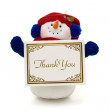 Snowman holding a thank you card — Stock Photo