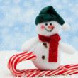 Foto Stock: Snowman having fun