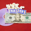 Stock Photo: Price of movie and popcorn