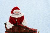 Riding in a Santa sleigh — Stock Photo