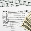 File your tax return online - Stock Photo