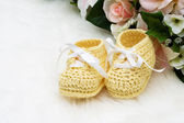 Yellow Baby Booties — Stock Photo
