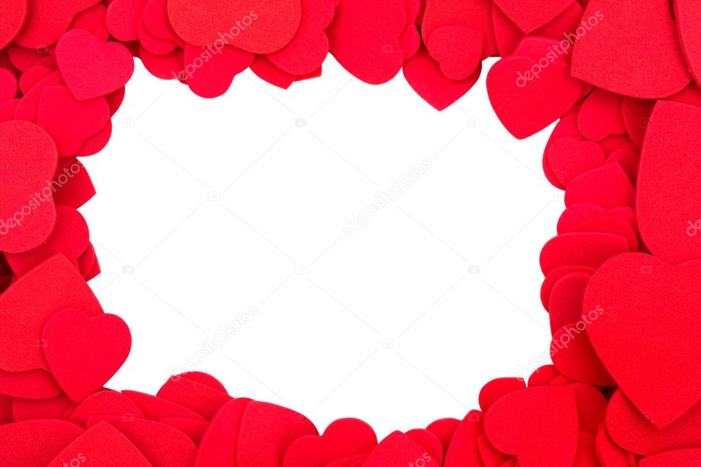 A lot of hearts isolated on white to made a border — Stock Photo #6462425