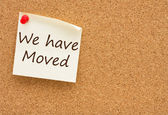 We have moved — Stockfoto
