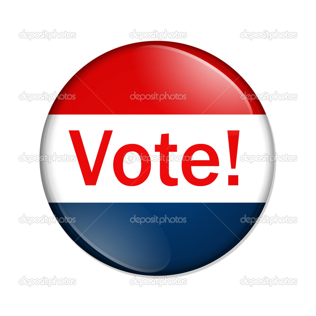 A red and blue button with word vote isolated on a white background, Vote button — Stock Photo #6745896