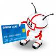 3d Character with credit card — Stock Photo