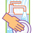 Washing dishes illustration — Stock Photo