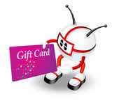 Rojo personaje en 3d con la tarjeta de regalo — Foto de Stock
