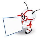 Character with blank panel — Stock Photo