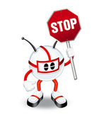 3d character holding stop sign — Stock Photo