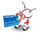Personaggio 3d con carta di credito — Foto Stock