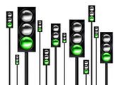 Green traffic lights — Stock Photo