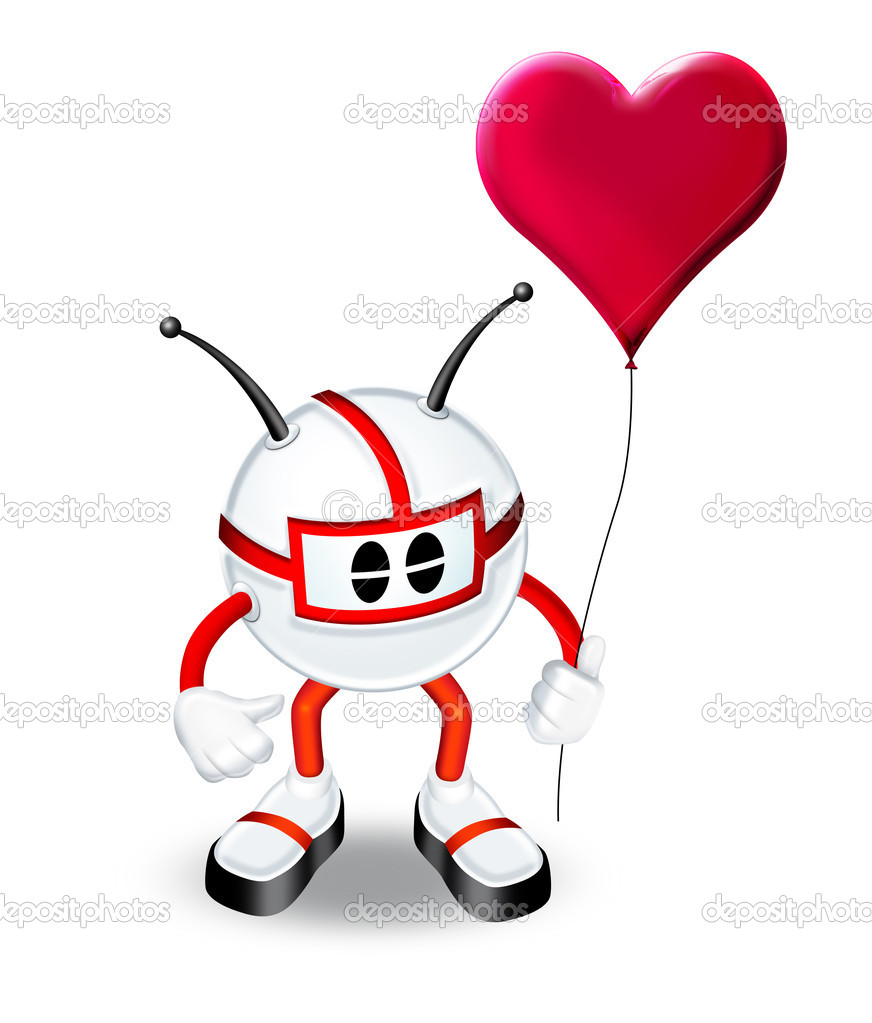 3d man with heart balloon — Stock Photo #5978181