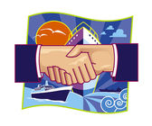 Shipping partnership Illustration — Stock Photo