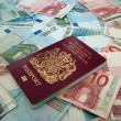 UK passport and euros — Stock Photo