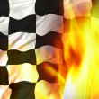 Chequered flag on fire — Stock Photo #6011613