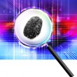 Finger print under magnifying glass — 图库照片