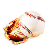 Baseball through fire — Stock Photo