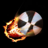Basket ball and flames — Stock Photo