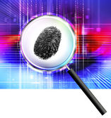 Finger print under magnifying glass — Stock Photo