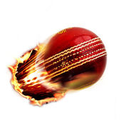 Cricket ball through fire — Stock Photo