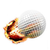 Golf ball through fire — Stock Photo