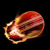 Cricketball durch flammen — Stockfoto