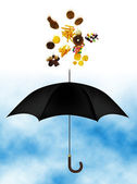 Junk food over umbrella — Photo