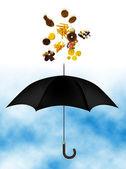 Nezdravé jídlo přes deštník — Stock fotografie