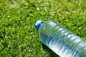 Water bottle on grass — Stock Photo