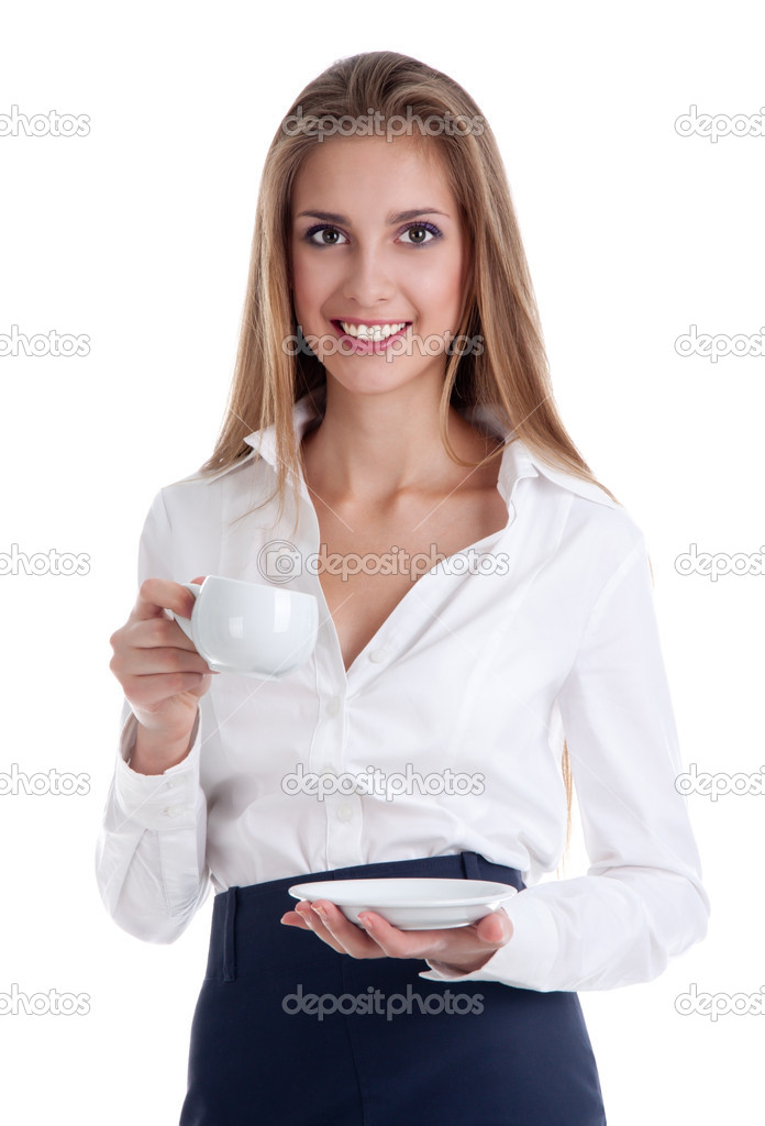 Portrait of young business lady holding with a cup of coffee  Stock Photo #6142916