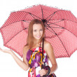 Cheerful girl under umbrella — Stock Photo #6458102