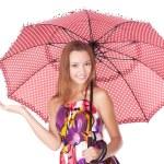 Cheerful girl under umbrella — Stock Photo