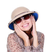 Young woman wearing a helmet safari — Stock Photo