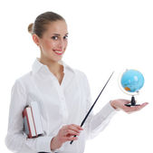 Girl studying a globe — Stock Photo