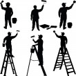 Various workers painters silhouettes — Stock Vector