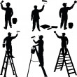 Stock Vector: Various workers painters silhouettes