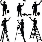 Various workers painters silhouettes — Vecteur