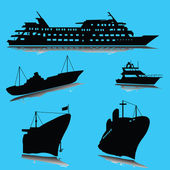 Boats silhouette — Stock Photo