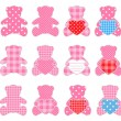 Twelve pink bears - Stock Vector