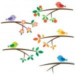 Birds on branches — Stock Vector