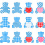 Twelve blue bears — Stock Vector