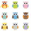 Color owls clip art - Stockvectorbeeld