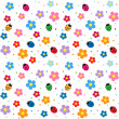 Ladybugs and flowers background — Stock Vector #6060801