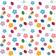 Stock Vector: Ladybugs and flowers background