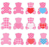 Twelve pink bears — Stock Vector