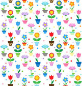 Flowers in pots pattern — Stock Vector