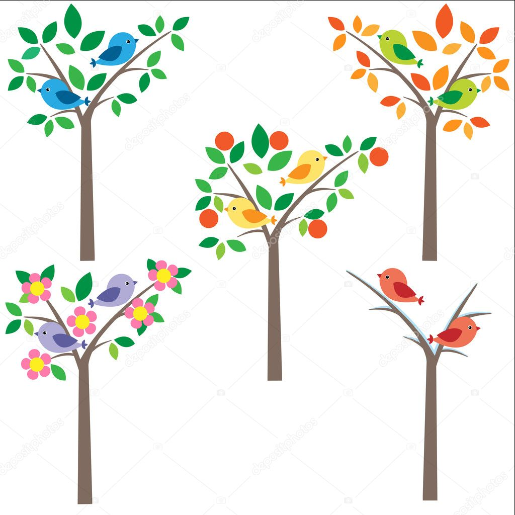 Birds sitting on tree at different seasons — Imagen vectorial #6060547