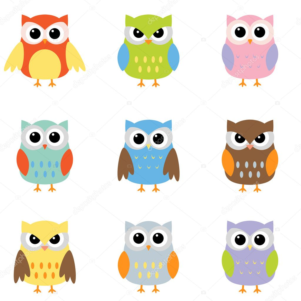 Owls with nine color combinations  Grafika wektorowa #6060737