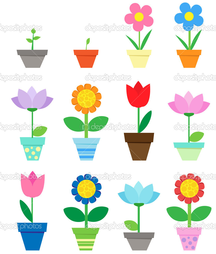 Flowers in pots - clip art — Stock Vector #6060791
